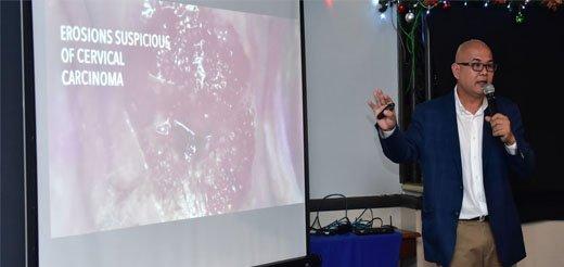 Dr Bogs Rivera speaking during A pledge to end cervical cancer